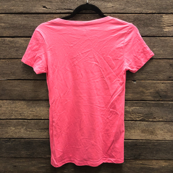 KCD Hot Pink Buckle Logo Short Sleeve V Neck T-Shirt AU8-AU16 left