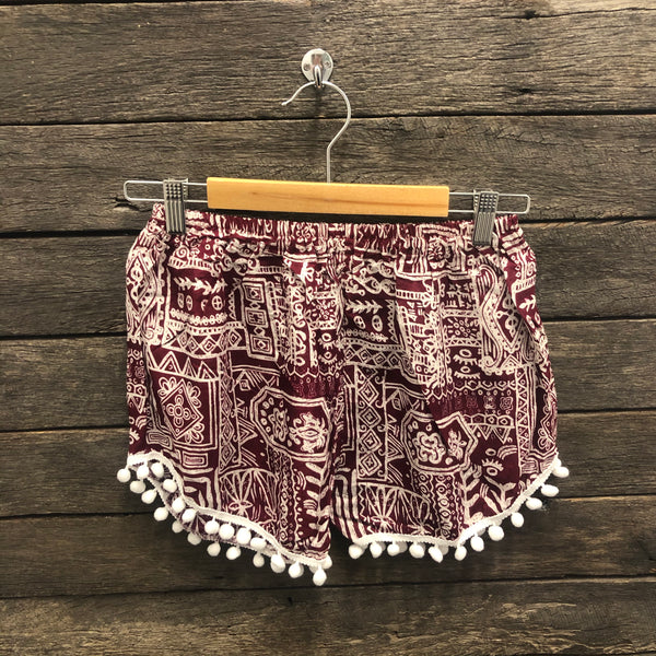 Tribal Design Weekender Pom Pom Shorts AU6-AU14