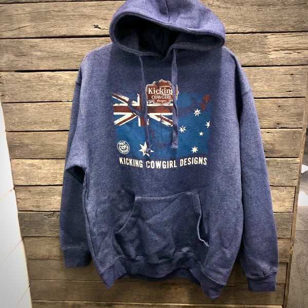 Navy Aussie Flag KCD Fleece Hoodie AU12-AU16 left