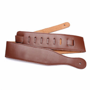 Handcrafted real leather adjustable guitar-strap, natural tan.