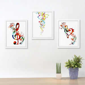 Colorful Music Notes Print on Canvas