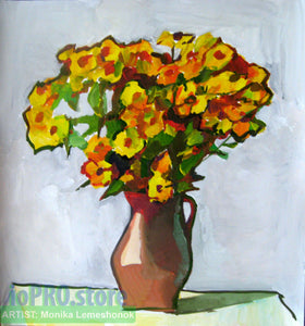 'Yellow bouquet' (gouache on paper)