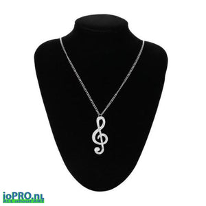 Ladies Crystal Music Note Pendant With Necklace Jewelry