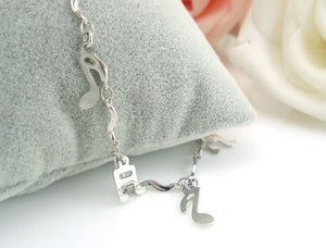 Silverplated musicnotes ankle-bracelet
