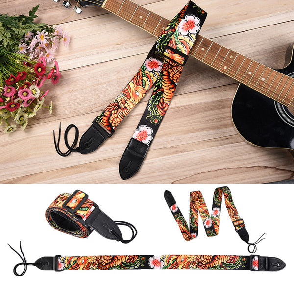 Fine fun-printed strap for acoustic guitar or bass