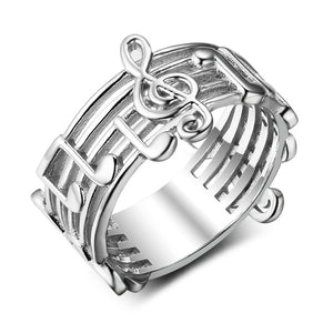 Platinum color-plated music-note ring (Ladies)