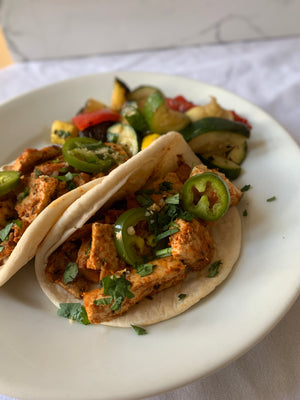 Vegan - Grilled Tofu Tacos with Mojo Sauce, Caramelized Onions, and Pickled Jalapenos