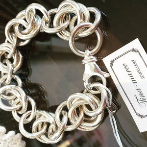 925 Sterling Silver - 3 Ring Rose bracelet