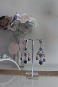 Blue stone and cubic zirconia chandelier earrings