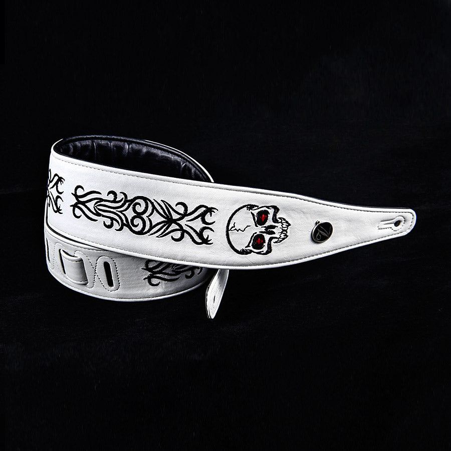 Skull Design White and Black Guitar Strap