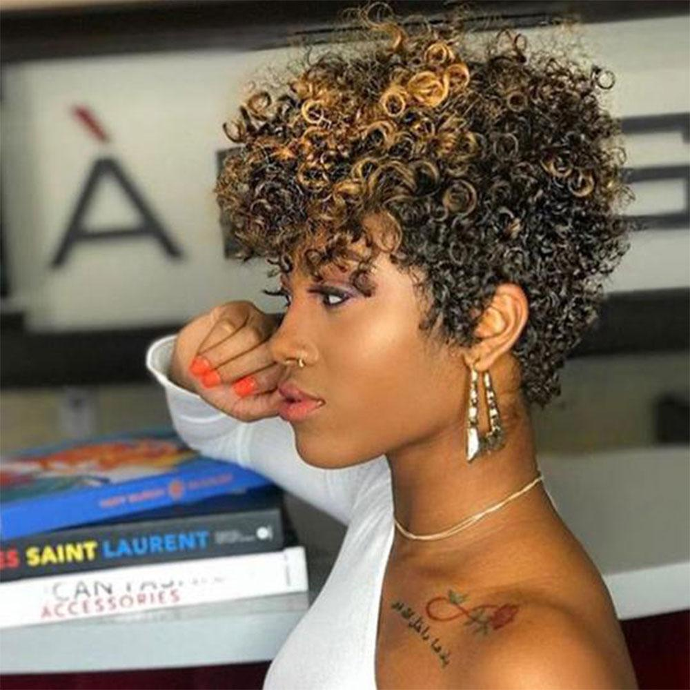 Luna Wig 012 Gorgeous Short Kinky Curly Hair with Bangs for Black Women