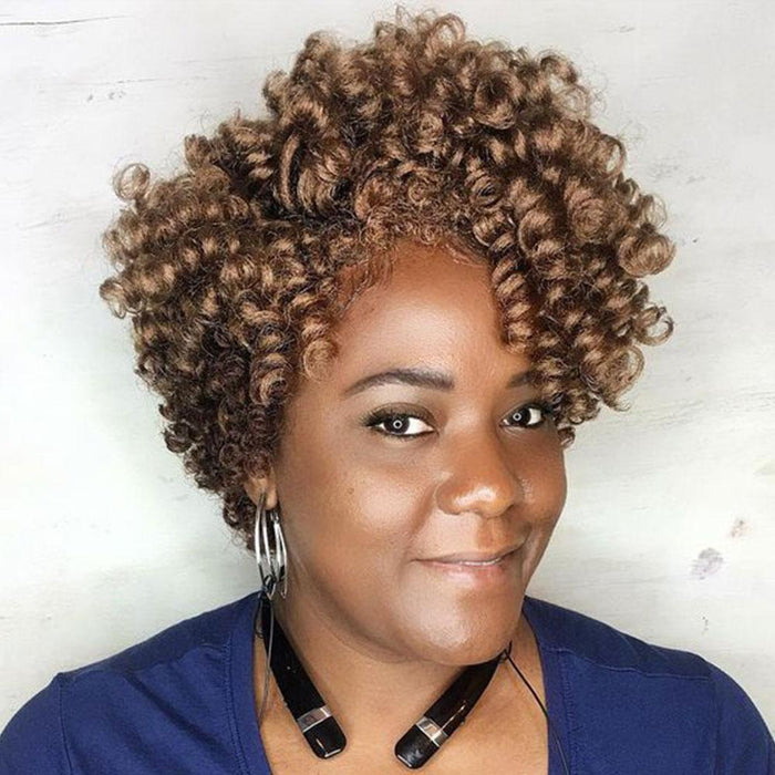 Luna 013 Gorgeous Short Layered Spiral Curly Wig for Black Women
