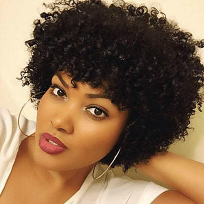 Luna A75 Gorgeous Short Curly Afro Hair Wig with Bangs for Women