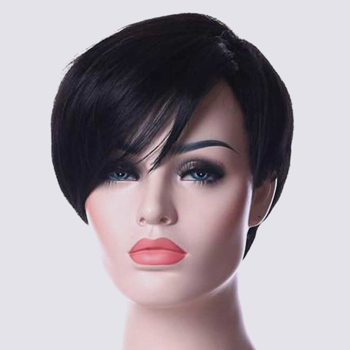 Luna Women Wig Short Straight Layered with Bangs