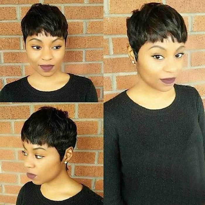 Luna 006 African American Super Short Straight Wig for Black Women