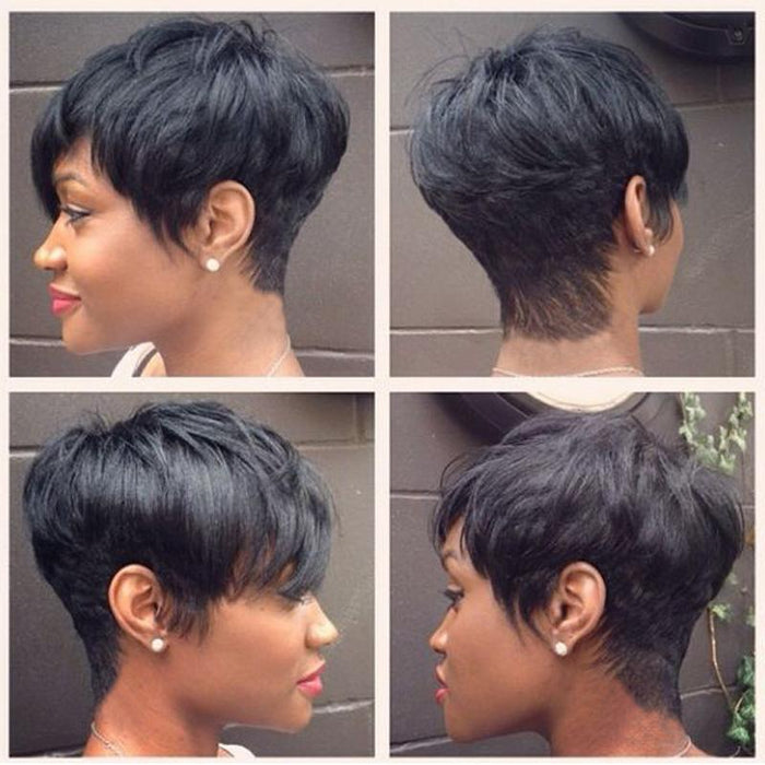 Luna 039 Short Layered Straight Cropped Wig for Black Women