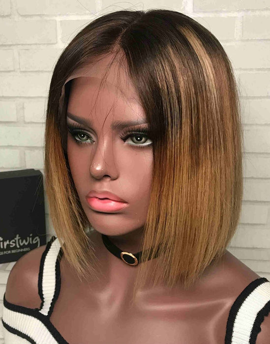 Luna Wig S08 Love Bob Silk Lace Front Straight for African American