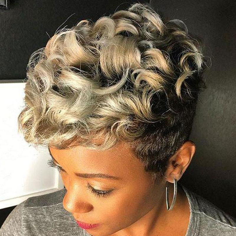 Luna 520 Inexpensive Women Short Curly Wig for African American