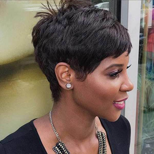 Luna 025 Pixie Layered Short Straight Wig for African American