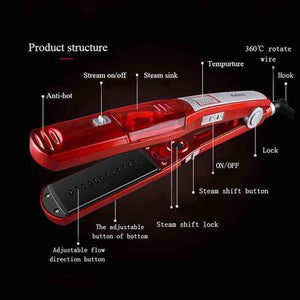LunaWig Ceramic Steam Hair Straightener Flat Iron for Wet/Dry Hair