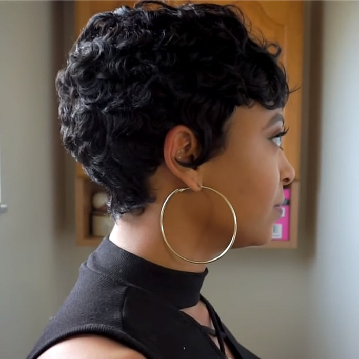Luna 084 Super Short Curly Synthetic Wig with Bangs for Black Women