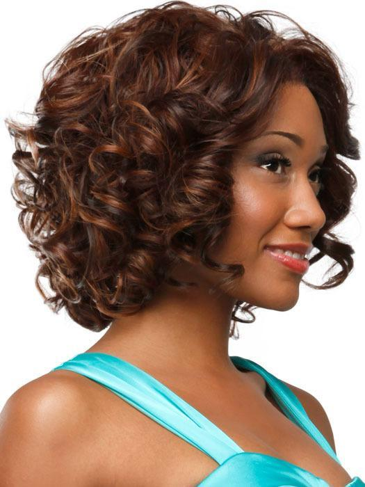 Luna C01 Chin Length Curly Afro Bob Wig for African American Women