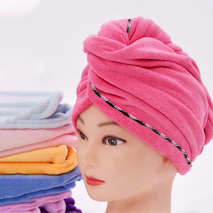 Rapid Drying Hair Towel Microfiber Anti-Frizz Turban with Button 28 x 65cm