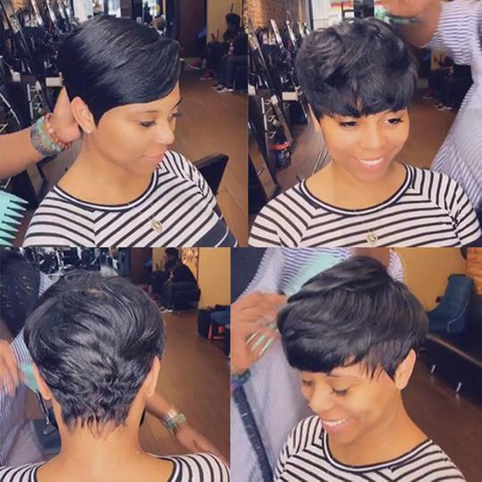Luna A13 Sassy Pixie African American Short Layered Wig for Women