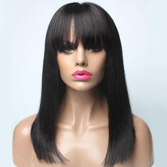 Luna S43 Lace Front Long Straight Wig with Bangs for Women