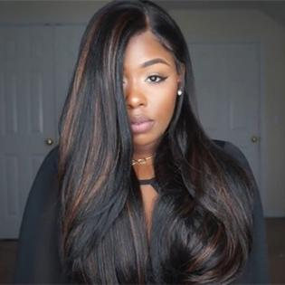 Luna N04 African American Silk Base Long Straight Wig