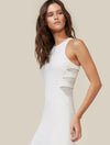 Halston Heritage White Midi Dress with Flounce Skirt