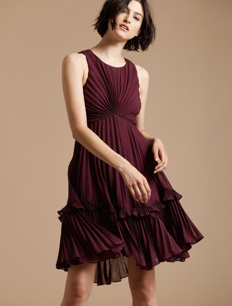 Halston Heritage Maroon Pleated Midi Dress