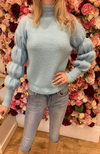 Luzabelle Blue Polo Knit Jumper with Puff Sleeves