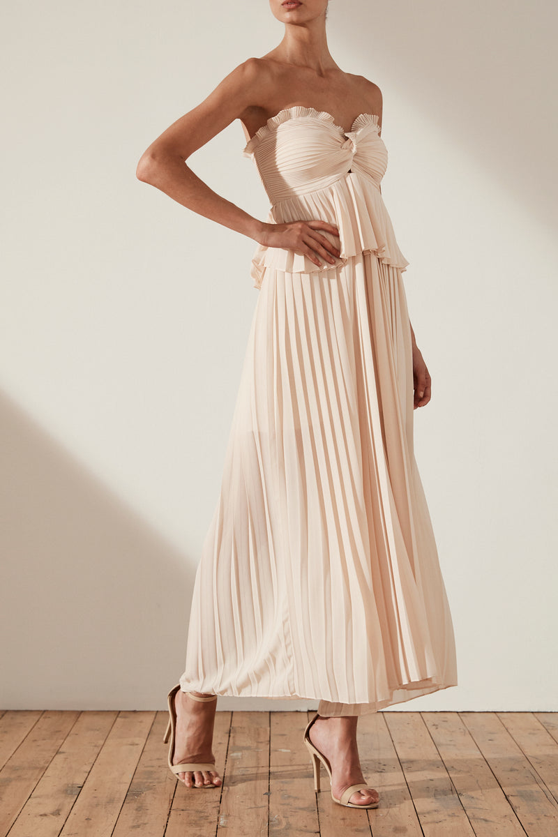 Shona Joy Botticelli Palazzo Strapless Pleated Jumpsuit