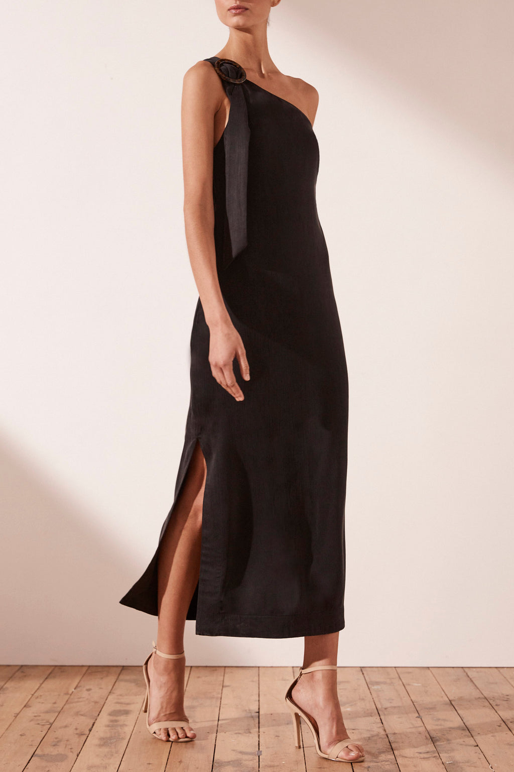 Shona Joy Matias One Shoulder Black Midi Dress