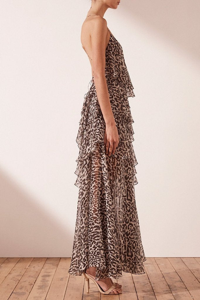 Shona Joy Mariposa Leopard Print Cross Back Maxi Dress