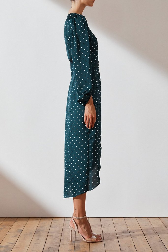Shona Joy Emerald Polka Dot Wrap Dress