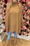 Exquiss Camel Cape Jumper with Button Detail