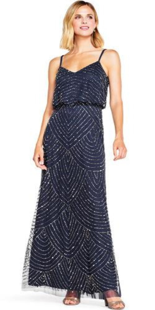 Adrianna Papell Art Deco Beaded Blouson Gown - Navy