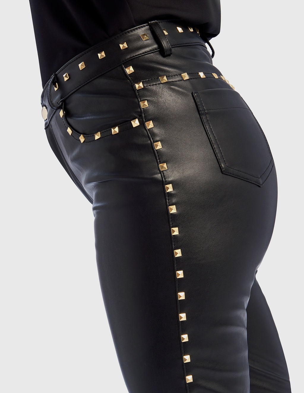 Forever Unique Abina Faux Leather Trousers with Studded Trim