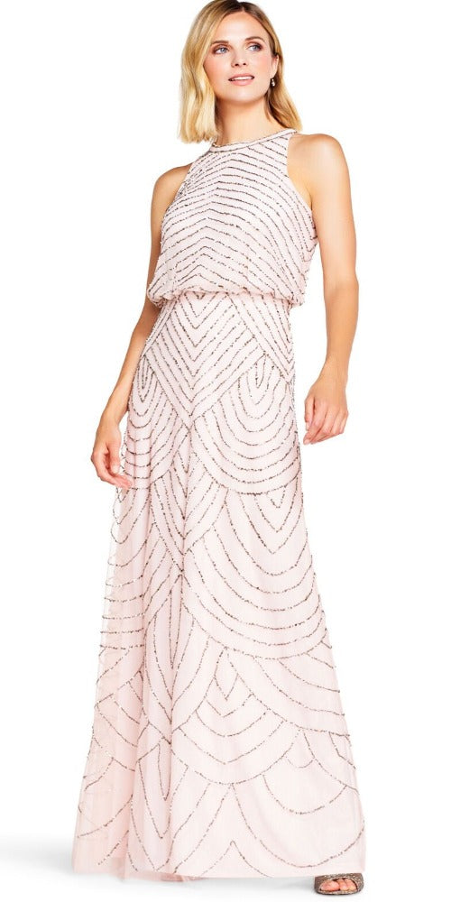Adrianna Papell Art Deco Beaded Blouson Halter Neckline Gown - Blush/Gold