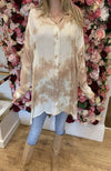 QED Beige Tie Dye Blouse with Gold Detail