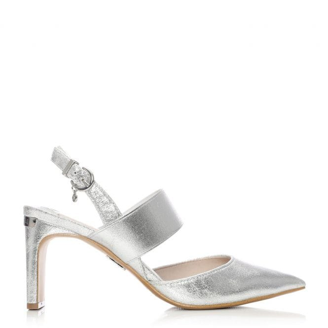 Moda in Pelle Classo Silver Fabric Pointed Elastic Court Shoe