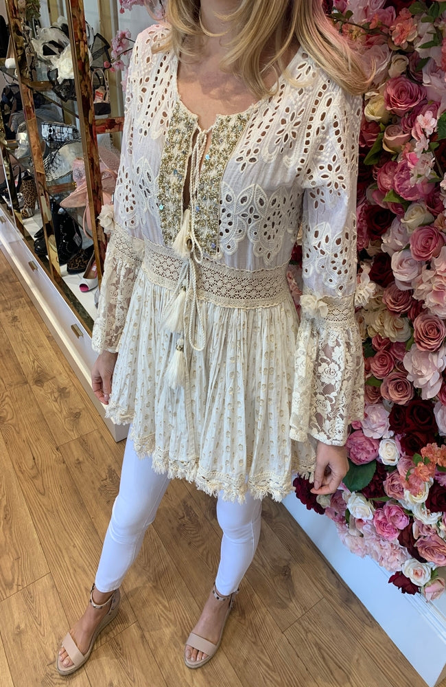 NJ Couture Crochet and Lace Babydoll Top
