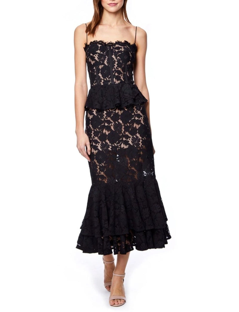 Jarlo Black Peplum Lace Midi Dress