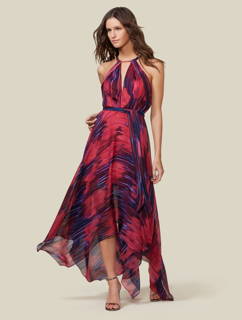 Halston Heritage Pink and Purple Long Dress with Hankerchief Hem