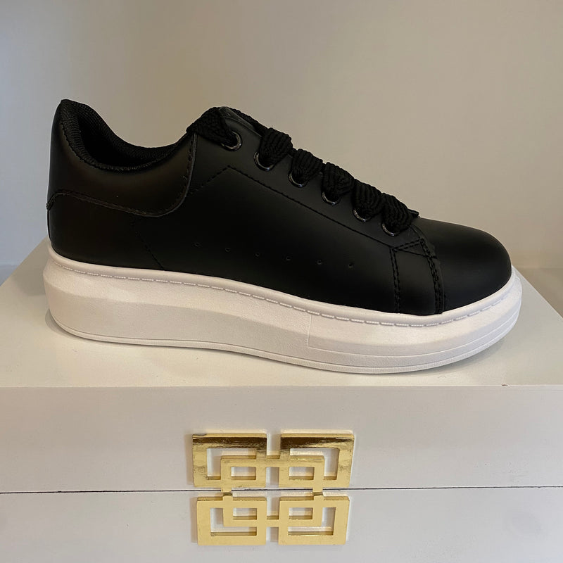 Black Trainers with White Sole