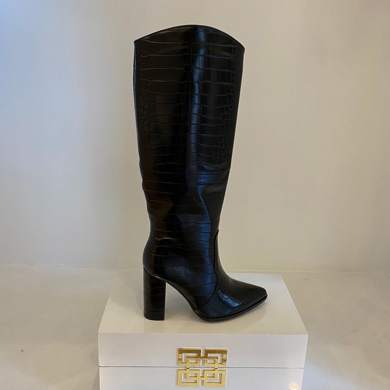 Luxe Tall Heeled Croc Print Boot