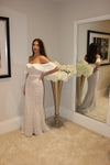 Jarlo Jilian Off The Shoulder White Lace Gown