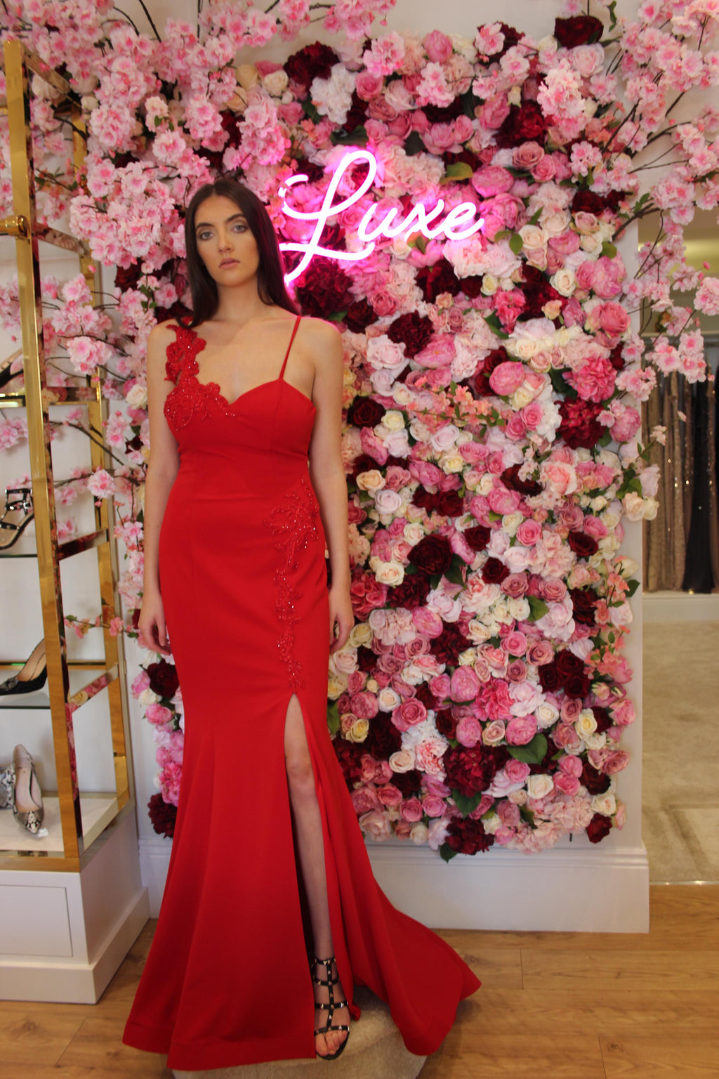 Pia Michi Red Prom Dress with Leg Slit and Floral Beaded Detail